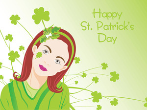 Green Shamrock Background With Lovely Girl 17 March