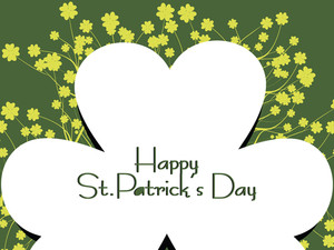 Green Shamrock Background With Nontextual Matter 17 March