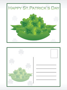 Green Shamrock Postcard Illustration