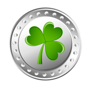 Green Shamrock Silver Coin