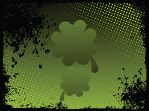 Green Shamrock With Grunge Backdrop 17 March