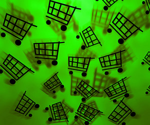 Green Shopping Cart Background