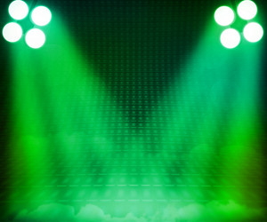Green Show Room Spotlights Stage Background