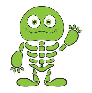 Green Skeleton Monster - Halloween Vector Illustration