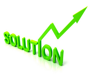 Green Solution Word Shows Success And Strategy