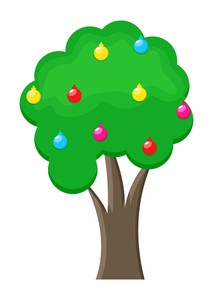 Green Tree With Colorful Decorative Ornaments