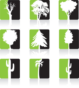 Green Trees Icon Set