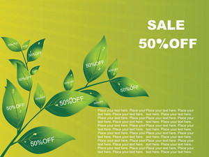 Green Vector Background With Shopping Tree Of Many Leaf