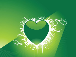 Green Vector Wallpaper Of Heart And Grunge Retro Elements