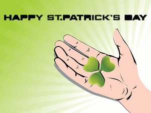 Green Vector With Three Leafs Clover In The Hand