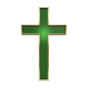 Green With Gold Frame Christian Cross Isolated On White.