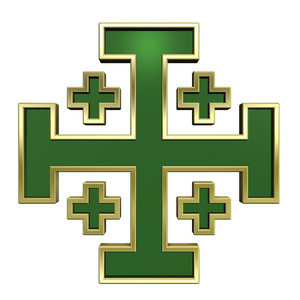 Green With Gold Frame Heraldic Cross Isolated On White.
