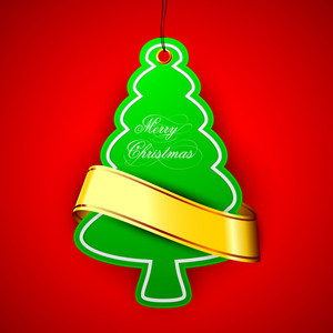 Green Xmas Tree With Golden Ribbon On Red Background