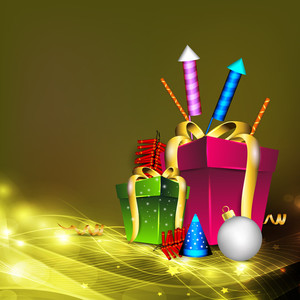 Greeting Card For Diwali Celebration In India With Gift Boxes And Fire Crackers.