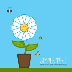 Greeting Card With Funny Flower And Bee. Vector Illustration.