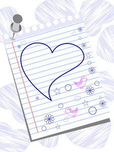 Greeting Card With Funny Hand Drawn Elements  On Blank Template Of Valentines Day.
