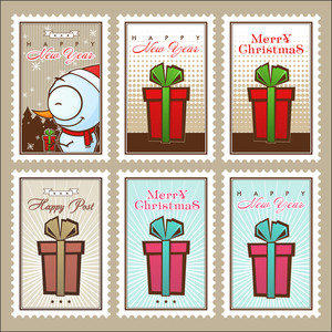 Greeting Christmas Postage Set. Vector Illustration.