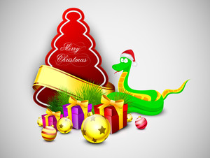 Greeting Or Gift Card For New Year And Merry Christmas Celebration.