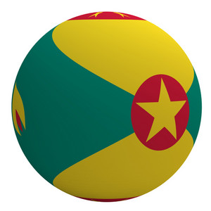 Grenada Flag On The Ball Isolated On White.