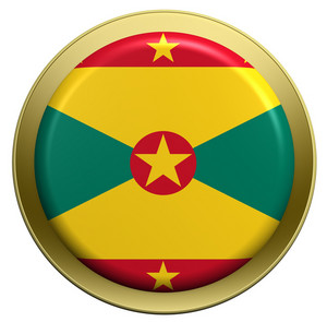 Grenada Flag On The Round Button Isolated On White.