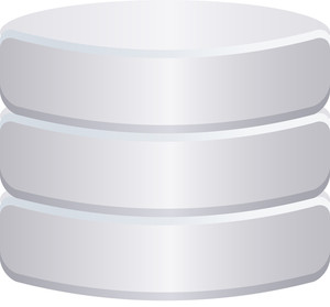 Grey Database Icon On White Background