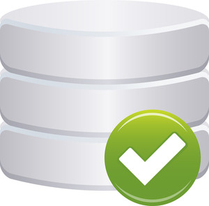 Grey Database Icon With Check Sign On White Background