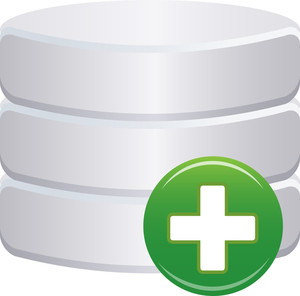 Grey Database Icon With Green Cross Sign On White Background