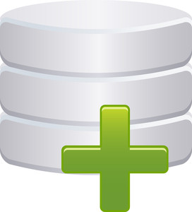 Grey Database Icon With Plus Sign On White Background