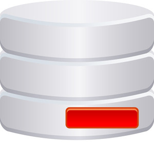 Grey Database Icon With Red Minus Sign On White Background