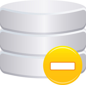 Grey Database Icon With Yellow Minus Sign On White Background
