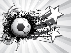 Grey Rays Background With Grungy Soccer Ball