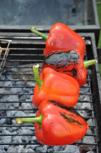 Grilling Red Peppers