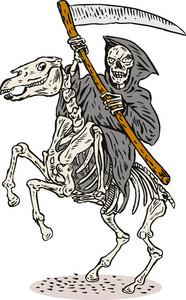 Grim Reaper Skeleton Horseback