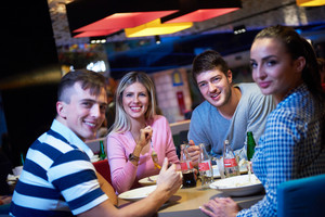 Group eating dinner