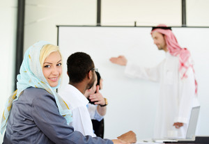Group of Arabic business people at work