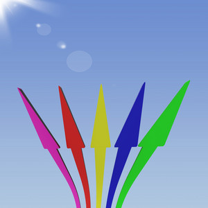 Group Of Arrows Pointing Up To The Sky Shows Progress Or Improvements