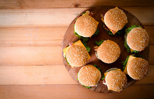 Group Of Beef Burgers