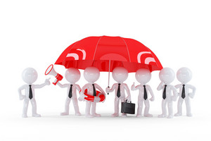 Group Of Businessmen Under Umbrella. Business Safety Concept