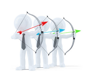 Group Of Businesspeople Aiming At A Target