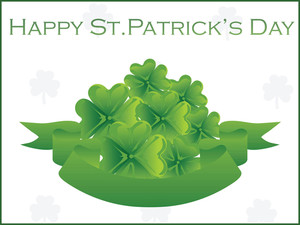 Group Of Green Shamrock With Ribbon Illustration 17 March