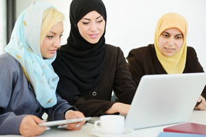 Group of Muslim women working