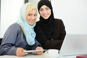Group of Muslim women working