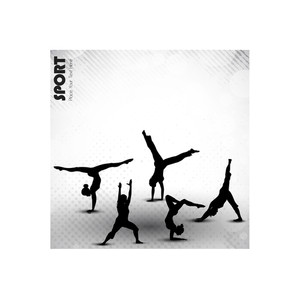 Group Of Rhythmic Gymnastic Girls On Grungy Abstract Background In Grey Color. Eps10.