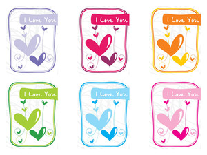 Group Of Six Balloon Design Love Card