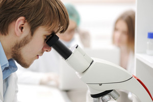 group of the students working at the laboratory with microscope