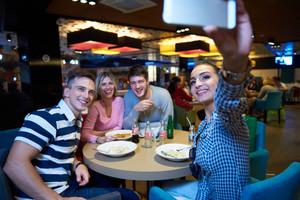 Group selfie after dinner