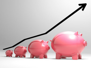 Growing Piggy Shows Financial Growth