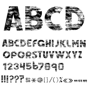 Grunge Alphabet Letters, Numbers And Punctuation Marks