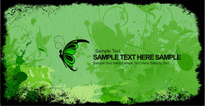 Grunge Background With Butterfly Vector Illustration