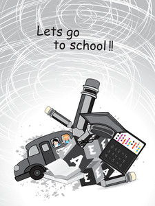 Grunge Background With Education Supplies